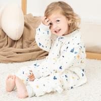 迪士尼宝宝婴儿睡袋春秋冬婴儿防踢被纯棉儿童分腿睡袋加厚款可脱袖 星河林间-薄夹棉