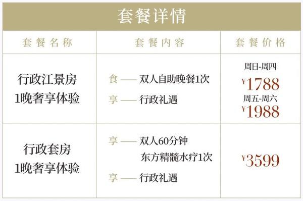 俯瞰黄浦江!上海浦东文华酒店 行政江景房1晚(含双人自助晚餐+行政礼遇)
