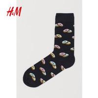 HM 男装袜子情侣款设计感2020新款纯棉透气舒适图案长筒袜0783707(27-28、混蓝色/牛油果)