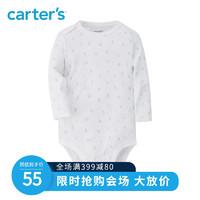 carter's秋季新款长袖连体衣印花包屁衣婴儿三角哈衣18139110B(90cm 、黄白条纹)