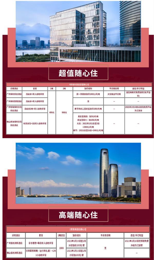 飞猪双12:节假日可用!保利酒店 广州/佛山6店通兑房券(含早餐)