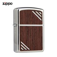 美國進口之寶(ZIPPO)防風煤油打火機不含油 木紋系列-對角線 品牌直供原裝正版