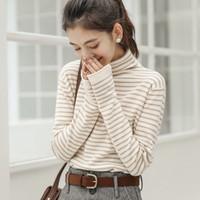 百搭韩版毛衫女士打底衫长袖中高领针织衫毛衣女上衣