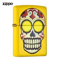 美國進口 之寶(zippo) 防風煤油打火機不含油 24894幻彩骷髏 - 檸檬黃啞漆 , 射印 品牌直供原裝正版