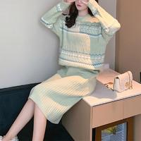女花纹肌理针织毛衣半身裙套装