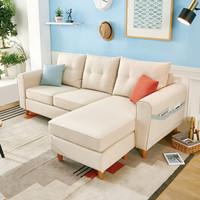 7日0点:QuanU 全友家居 102289 可拆洗布艺沙发 三人位+ 脚凳