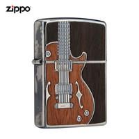美國進口之寶(ZIPPO)防風煤油打火機不含油 古董吉他-銀色 品牌直供原裝正版