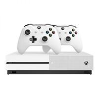 微软(Microsoft)Xbox One S 1TB游戏机双手柄套装(白色)234-0061412