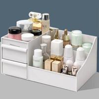 化妆品收纳盒大号梳妆台桌面抽屉首饰品储物盒塑料分类整理收纳盒 经典双抽中号-象牙白