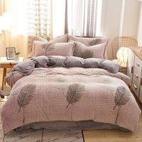 恒源祥家纺套件 秋冬加厚法兰绒珊瑚绒四件套 1.5/1.8米床 床单枕套被套200*230