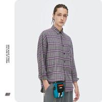 DC潮牌 2020秋季新款潮牌个性宽松圆弧下摆宽松格子男士翻领衬衫2080W20 紫色 M