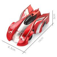 儿童玩具车遥控电动爬墙车特技遥控车炫酷跑车 红色
