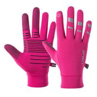 夜光户外骑行手套男女  泽超全指反光加绒保暖手套 粉红色 M