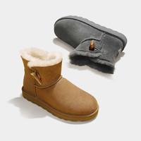 七面 女士羊皮毛一体雪地靴