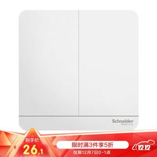 施耐德电气 开关面板 开关插座 双开单控 16A 一键换装 绎尚系列 镜瓷白色E8332L1_WE *3件