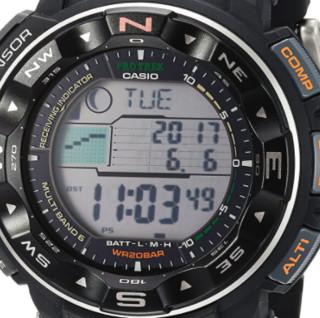 CASIO 卡西欧 PRO TREK系列 PRW-2500-1 男士太阳能手表 灰盘 黑色塑料表带 圆形