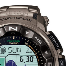 CASIO 卡西欧 PRO TREK系列 PRW2500T-7 男士太阳能手表 20.5mm 灰盘 银色钛金属带 圆形