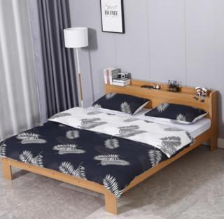 喜视美 北欧实木现代简约板式床家用1.8米双人床小户型卧室家具 榉木色 1.5米*2米-单床