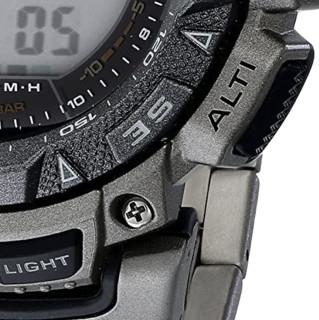 CASIO 卡西欧 PAG240T-7CR 男士太阳能手表 50.9mm 灰盘 灰色钛金属表带 圆形