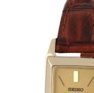 SEIKO 精工 SUP046 女士太阳能手表 15.4mm 黄盘 棕色皮革带 方形
