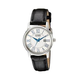CITIZEN 西铁城 光动能腕表系列 EW1568-04A 女士光动能手表 30mm 白盘 黑色皮带 圆形