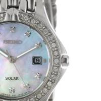 SEIKO 精工 SUT083 女士太阳能手表 27mm 贝母盘 银色不锈钢带 圆形