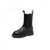 BASTO 百思图 女士皮革圆头套脚中跟厚底中筒切尔西靴ID512DZ0 黑色34