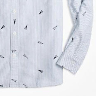 Brooks Brothers 布克兄弟 1818系列男士棉质三角旗印花牛津长袖衬衫