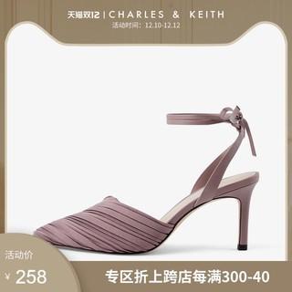CHARLES&KEITH女鞋CK1-60920189褶皱尖头高跟凉鞋