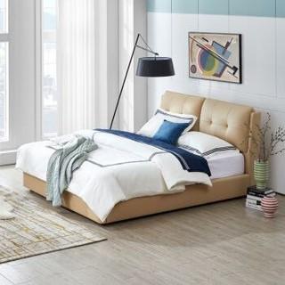 QM曲美家居 皮床小黄牛头层真皮床卧室现代简约双人床1.8米2.0米