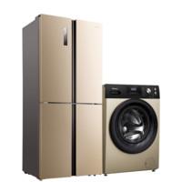 Hisense 海信 冰洗套装 BCD-410WMK1DPQ变频十字对开门冰箱 410L+HD1014S洗烘一体机 10kg  香槟金色
