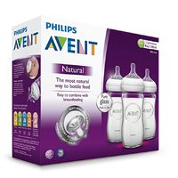 AVENT 新安怡 自然系列  寬口徑玻璃奶瓶三支裝 240ml SCF673/37