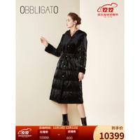 奥丽嘉朵冬季新款黑色绒面拼接羊皮革连帽羽绒服女 黑色 M/38