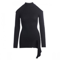 ochirly 欧时力 黑标系列女士法式立领中长不规则长袖针织衫1GH4034520