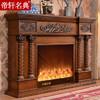 帝轩名典 美式电壁炉欧式壁炉 实木壁炉架 象牙白 深色装饰2.2/1.8/1.5/1.2米 1.8米高款深色 取暖炉芯