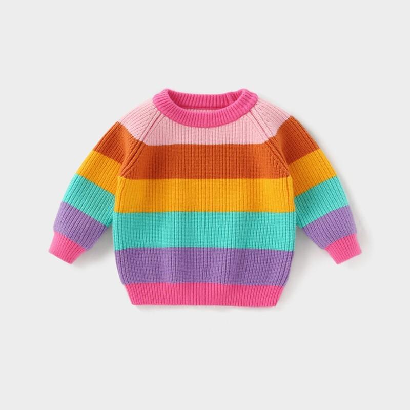 杰里贝比 儿童加厚彩虹针织衫 彩色 120