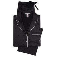 VICTORIA'S SECRET 维多利亚的秘密 杨幂同款女士缎面波点长袖睡衣套装11173211 黑色XS