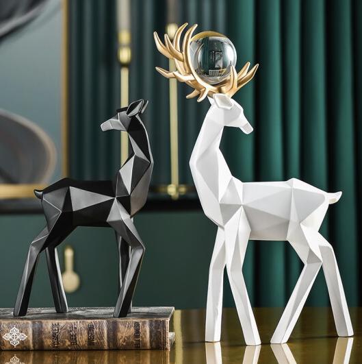 Hoatai Ceramic 华达泰 几何鹿客厅摆件 一对装