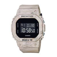 CASIO 卡西欧 地球色调户外系列 BGD-560WM-5PR 女士电子手表 44.7mm 黑盘 米色树脂带 方形