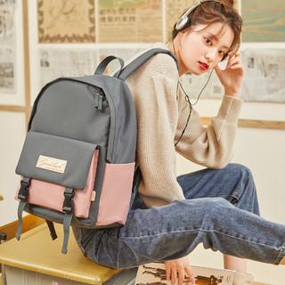 工装翻盖背包多功能学生书包背包女款双肩包女 *2件