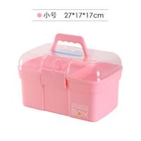 药箱大号家庭用箱塑料储物箱小号医药箱家用美甲收纳箱盒 粉红色 小号27*17*17cm