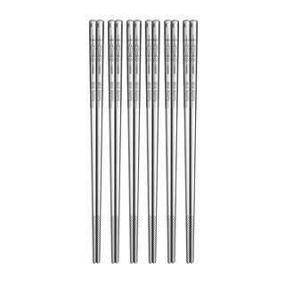 双枪304抗菌不锈钢筷子家用防滑方形筷日式防霉餐具酒店筷10双装