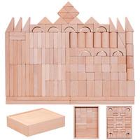 王子妈妈 128颗榉木盒装大颗粒原木色无漆积木儿童拼装益智玩具