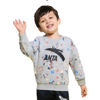 ANTA 安踏 儿童套头长袖卫衣 A37919702 浅花灰 120cm