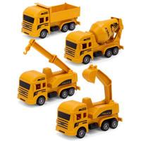 移动专享:砺能玩具 工程系列 回力挖掘机灭火车 4只装
