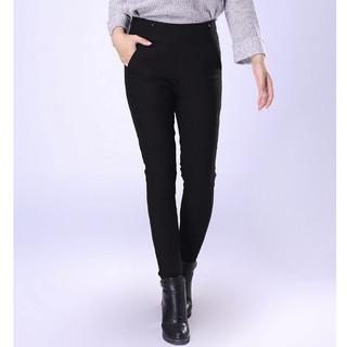 千仞岗 女士纯色灰鸭绒高腰羽绒长裤裤Y229901K-88005 魔力黑165