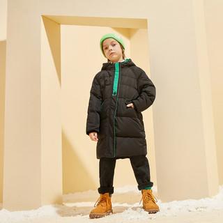 巴拉巴拉旗下男童80%白鸭绒潮连帽中长款羽绒服