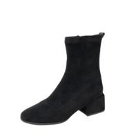 BASTO 百思图 女士拉链圆头粗跟中筒靴MD221DD9 黑色35