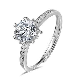 ARMASA 阿玛莎 女士爱心雪花925银钻石戒指 1克拉