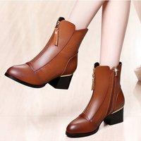 莱卡金顿LAIKAJINDUN女士中筒靴秋冬季百搭加绒棉靴粗跟短靴女靴子中跟马丁靴6396